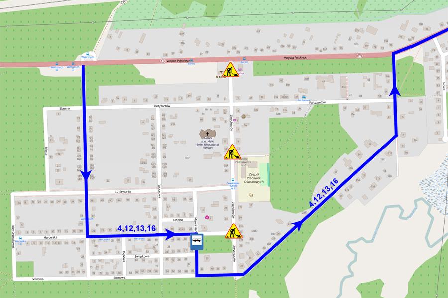 Objazd dla linii 4,12,13,16 w kierunku os. Milica