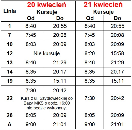 Organizacja komunikacji miejskiej w okresie 20-21 kwietnia